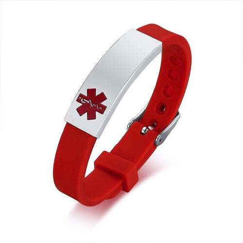 Personalized Assorted Coloured Medical Alert ID Bracelets for Kids and Adults