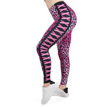 Load image into Gallery viewer, Womens Pink Leopard And Kisses Printed Leggings
