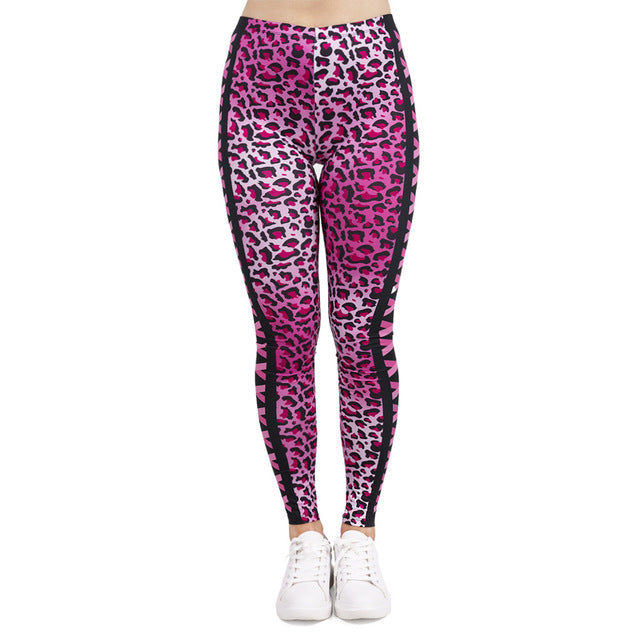 Womens Pink Leopard And Kisses Printed Leggings