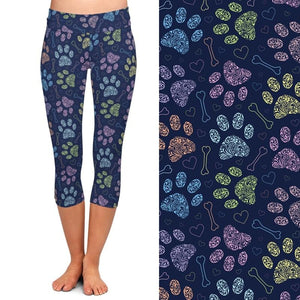 Ladies 3D Colourful Dogs Paws Printed Capri Leggings