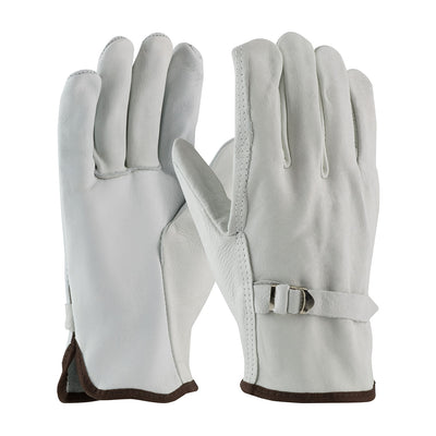White driver glove with pull strap for wildland firefighters.