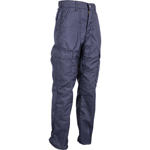 CrewBoss Classic NFPA 1977 rated wildland brush pants, navy advance rip-stop material SIDE VIEW