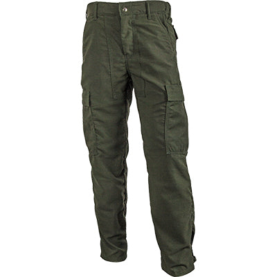 Green wildland firefighting brush pants.