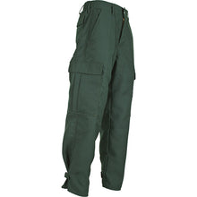 Side view of our durable, green classic brush pants for wildland firefighters.