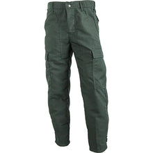 Front view of our green Classic brush pants.