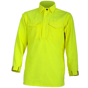 Tecasafe Plus 7 oz.Hickory Brush Shirt (Hi Viz Yellow), Crew