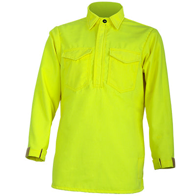 CrewBoss Tecasafe NFPA 1977 Certified Wildland Brush Shirt, High Visibility Pullover Style