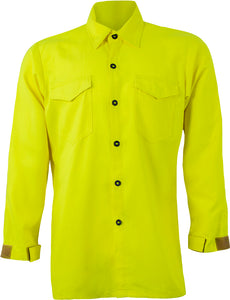 CrewBoss Tecasafe NFPA 1977 Certified Wildland Brush Shirt, High Visibility Button Down