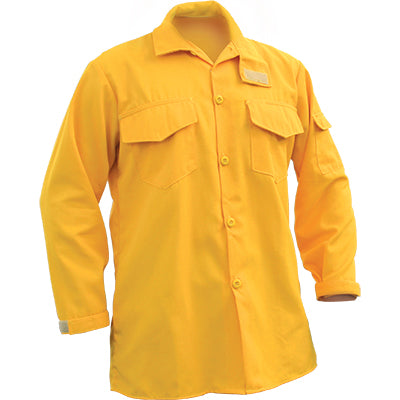 Yellow fire resistant brush shirt.