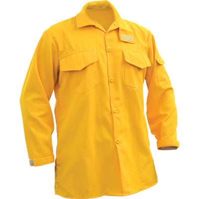 Yellow Nomex NFPA 1977 rated brush shirt designed for wildfire clothing