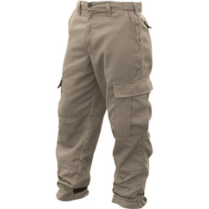 Khaki wildland firefighting brush pants.