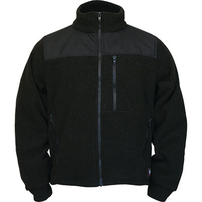 Front view of the black DragonWear firefighting jacket.