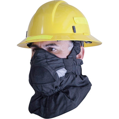 Man wearing the hot shield face protector for wildland firefighters.