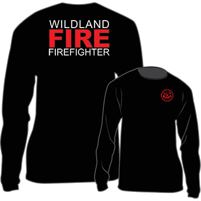 Wildland FIRE Firefighter Long Sleeve T-Shirt (Black), The Supply Cache