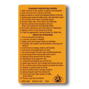 S-130  Decals, Standard Firefighting Orders/Watch Out Situations-10 Pack (NFES 00238)