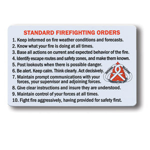 Cards-S-130  Standard Firefighting Orders/Watch Out Situations-10 Pack (NFES 00239)