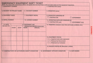 Emergency Equipment Shift Tickets (NFES 000872/OF-297)