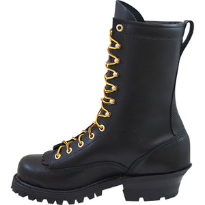 Side view of the Hathorn black wildland boots.