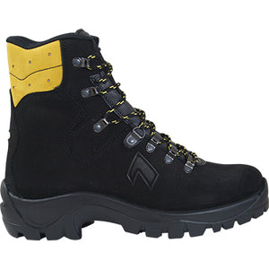 Side view of the HAIX Missoula firefighting boot. Black with a yellow upper ankle.
