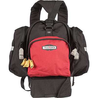 Front view of the black and red Spitfire Pack. Used for wildland gear.
