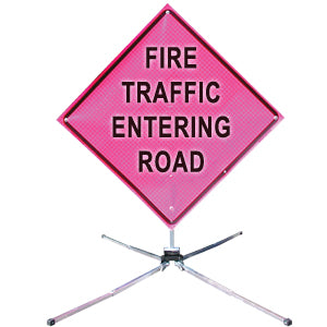 Fire Traffic Entering (36 Pink) Fold & Roll Sign System,