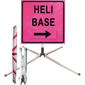 Heli Base (36 Pink) Standard Roll Up Sign, Dicke
