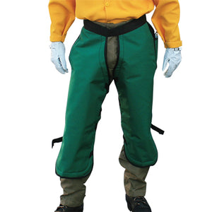 Deluxe chainsaw chaps used as wildland firefighting apparel.