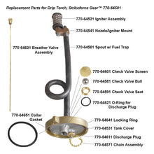 Components of the drip torch firefighting equipment.