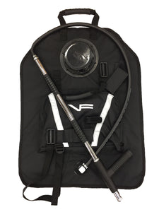 Black backpack piss pump kit for wildland fire equipment.