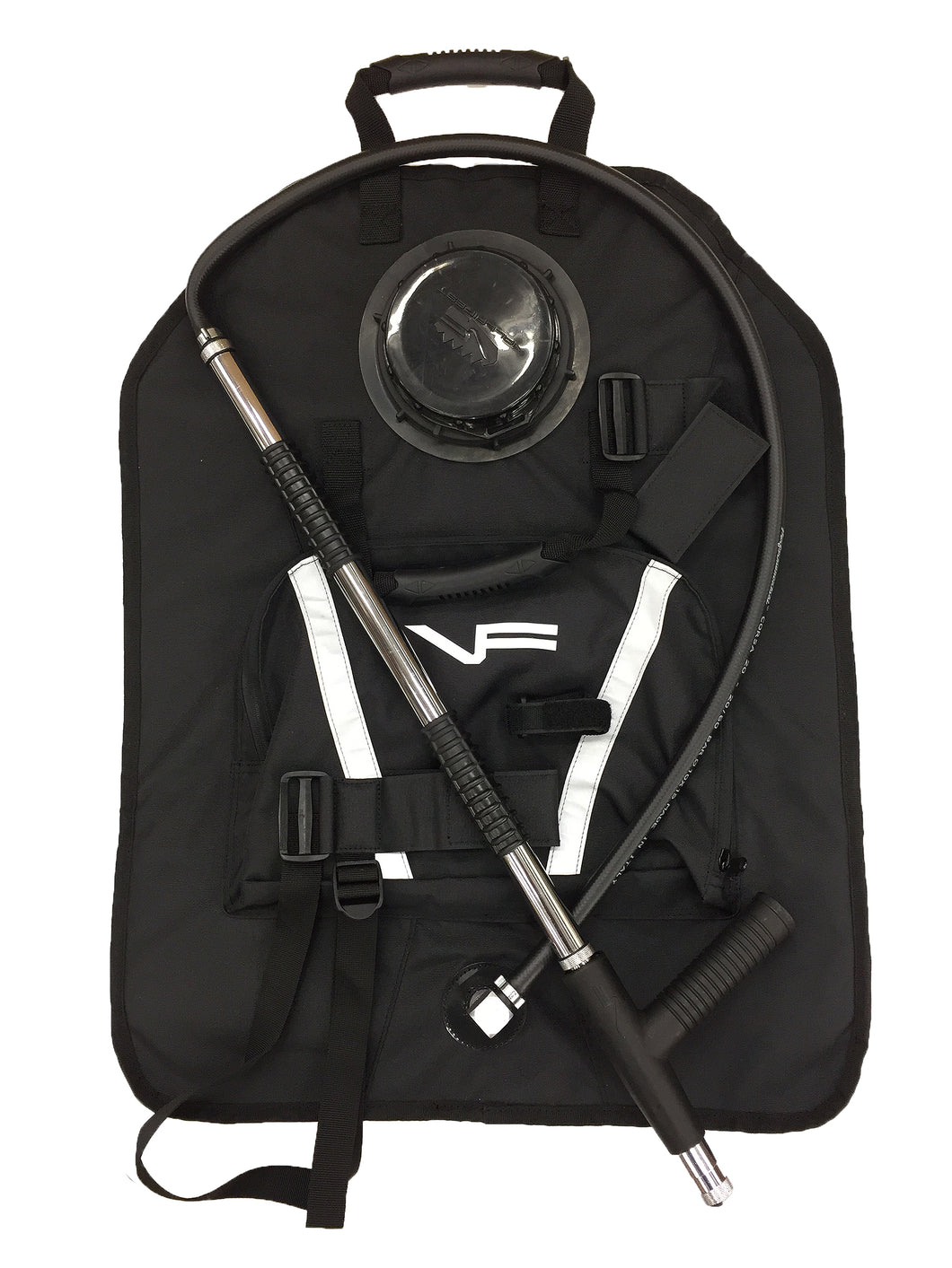 Black backpack pump kit for wildland fire equipment.