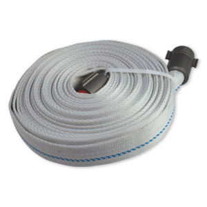 Coiled white 100 foot weeping fire hose.