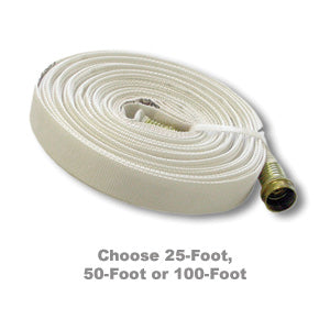 Coiled white fire hose for wildland firefighters.