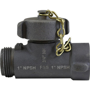 Hose Line Tee 1 NP x 3/4 GHT (w/Cap & Chain), S & H Products