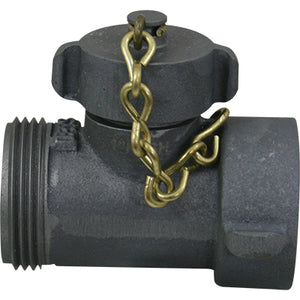 Hose Line Tee, 1.5 NH x 1 NP w/ Cap & Chain, S & H Products