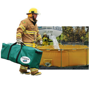 View of a firefighter carrying the portable water tank and the water tank being filled.