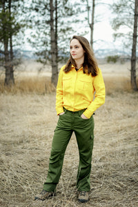 Women's Tecasafe Plus 5.8 oz Aspen Brush Shirt (Yellow), Green Buffalow