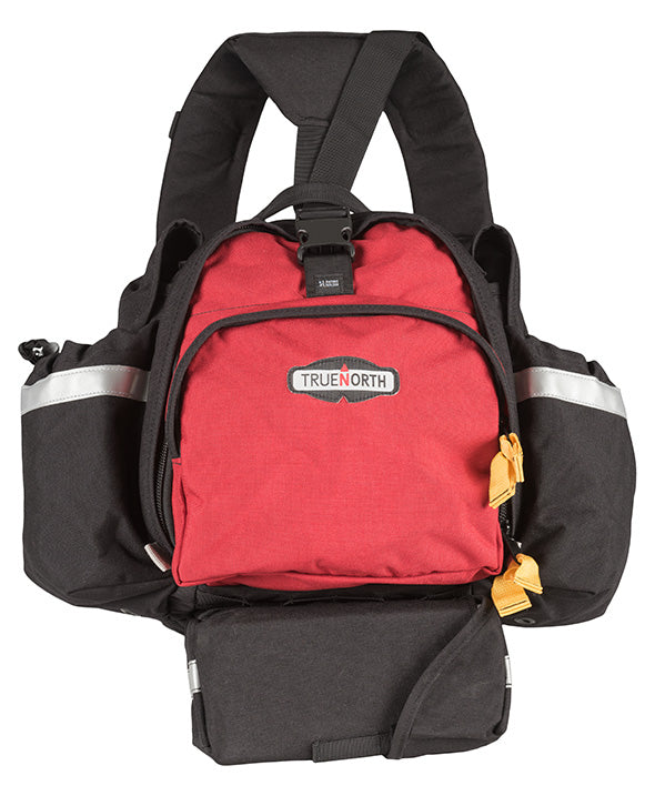 Front of the red Fireball backpack used by wildfire firefighters.