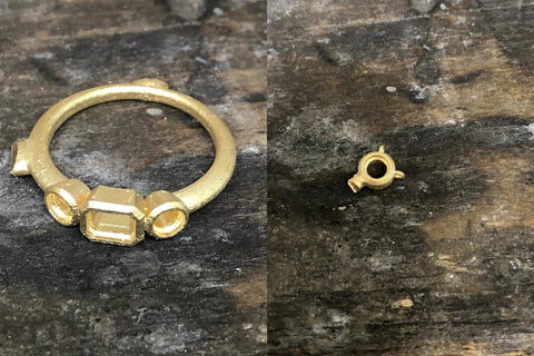 Cast of new gold ring and necklace