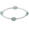 Aqua Chalcedony Gemstone Bangle in Sterling Silver