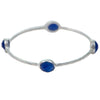 Sterling Silver Semi-Precious Stone Bangle - Blue Chalcedony