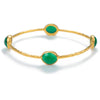 Gold Plated Semi-Precious Stone Bangle - Green Onyx