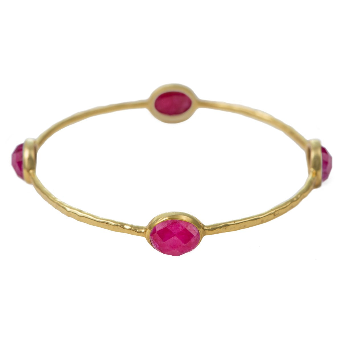 Ruby Quartz Gemstone Bangle in Gold Plated Sterling Silver