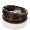 Brown Nappa Leather Men's Bracelet with a Magnetic Stainless Steel Clasp