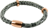 Grey Textured Leather Men's Bracelet with a Magnetic Rose Gold Plated Steel Clasp and Spacers