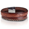 Men's Brown Nappa Leather Wide 4 Band Bracelet with a Magnetic Stainless Steel Clasp
