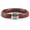 Men's Pure Leather Bracelet with a Brown Plaited Band and a Stainless Steel Clasp