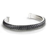 Men's Cuff with Braided Pure Black Leather on Brushed Stainless Steel