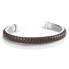 Men's Cuff with Braided Pure Brown Leather on Brushed Stainless Steel