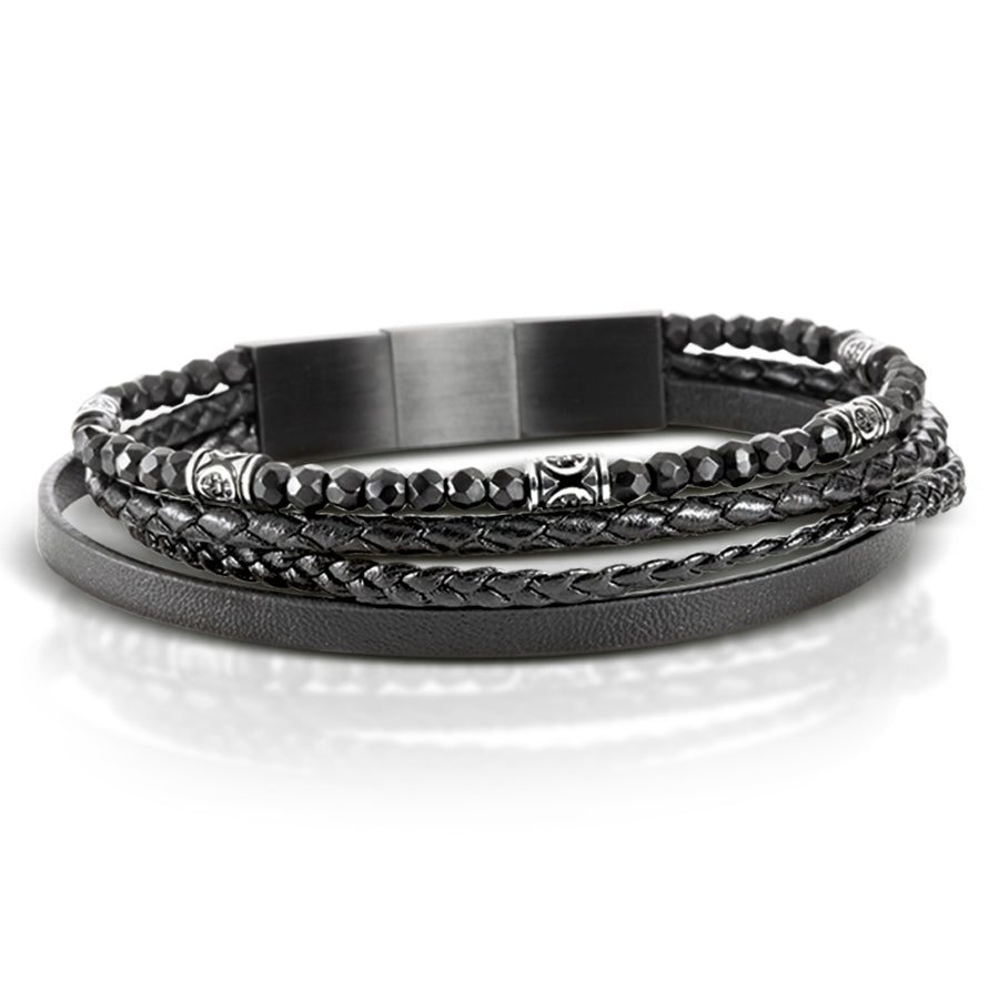 Black Nappa Leather 4 Band Bracelet with Black Onyx and Magnetic Steel Clasp
