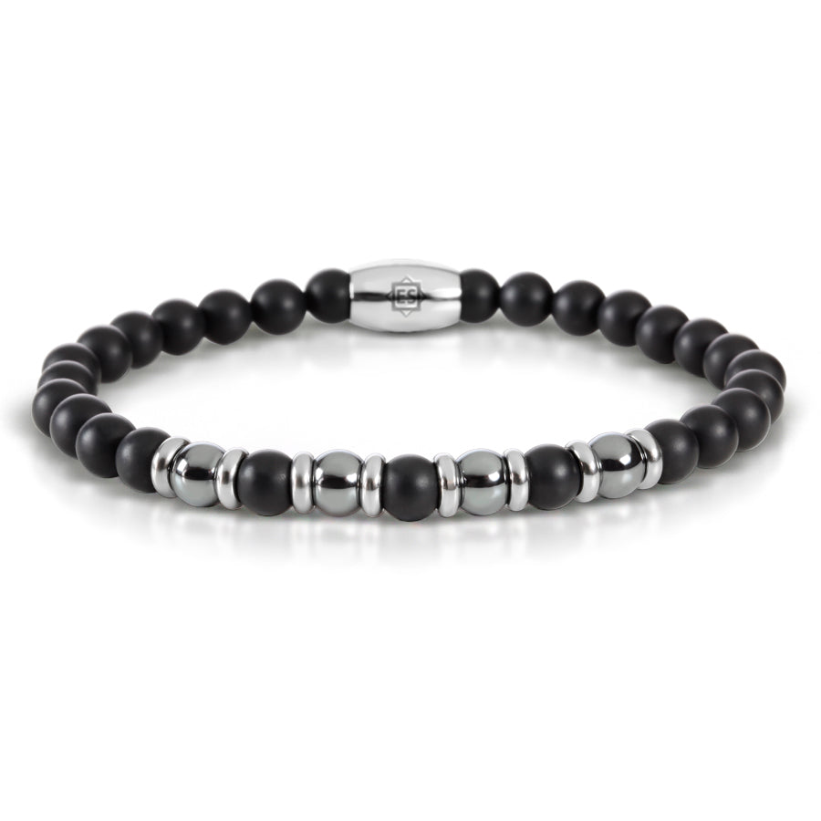 Matte Black Onyx and Haematite Bead Bracelet with Stainless Steel Spacers